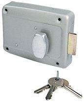 Serrure de porte de garage en applique à cylindre rond et bouton intérieur