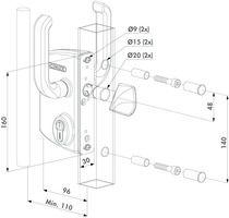 Serrure pour portail coulissant LSKZ Pour profil de 80 mm