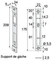 Gâche centrale pour pêne demi-tour et rouleau 2835/24/OR