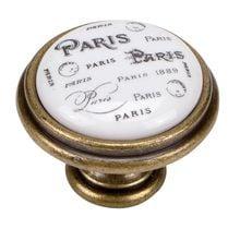 Bouton porcelaine Paris Bronze antique Florence