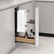 Coulissant porte-torchons Fioro pour meuble de 150 mm Anthracite / Chêne