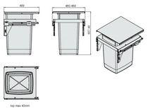 Poubelle coulissante 60L Pour meuble de 500 mm