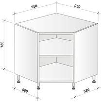 Caisson angle bas 1 porte (hauteur 780 mm)