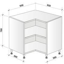 Caisson angle bas 2 portes (hauteur 780 mm)