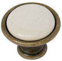 Bouton zamak porcelaine Bronze / ivoire