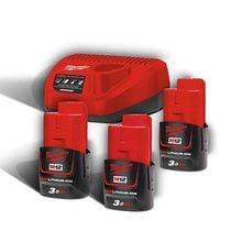 Pack énergie 1 chargeur + 3 batteries 12 V