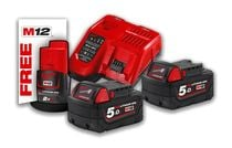 Pack énergie 2 batteries 18 V 5 Ah redlithium ion + chargeur + batterie 12 V offerte