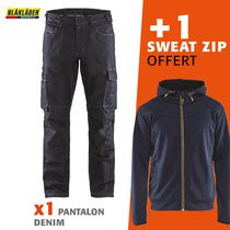 1 pantalon Denim 1439 + 1 sweat zip à capuche 3363 offert