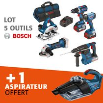 Lot 5 outils sans fil 18V + aspirateur offert Lot 5 outils sans fil 18 V + aspirateur offert