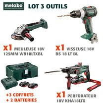 Lot visseuse + perfo + meuleuse 18 V