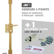 Lot serrure 3 points TARGA CP verticale à fouillot, gauche, or + Cylindre Mach V LBS 31x60
