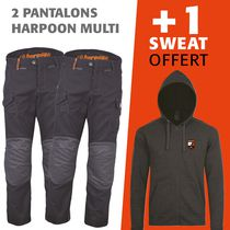 lot 2 pantalons harpoon multi + 1 sweat offert