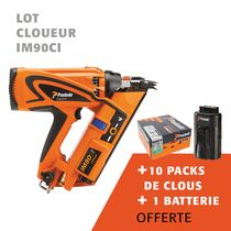 Lot cloueur IM90ci + 10 packs clous + 1 batterie offerte