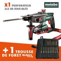Lot perfo 18 V 2x4 AH METABO + FORET TECHPRO