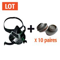 Lot 10 paires filtres a2-p3 + 1 demi-masque 420 offert