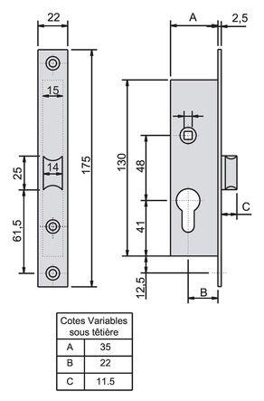 Serrure demi tour et cylindre série 33