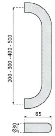 Poignée tubulaire droite pg 3000