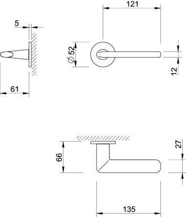 Béquille double sur rosace ronde SLIM 3098