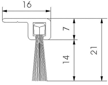 Profilé brosse poils polypropylène noir