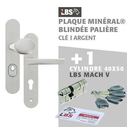 Lot ensemble sur plaque MINERAL blindée palière clé I argent + cylindre MACH V 40x50