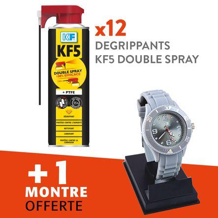 Lot 12 dégrippants lubrifiants KF5 double spray + 1 montre offerte