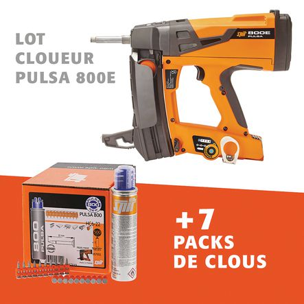 Lot cloueur PULSA 800E + 7 packs de clous